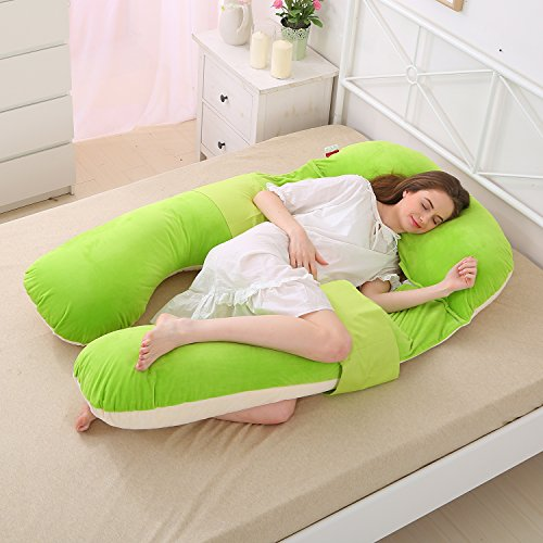 U Shaped Pregnancy Body Pillow with Zipper Removable Cove...
