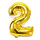 mylar number balloons - Ruimeier 40'' Number 2 Balloons Gold Foil Mylar Balloons for Birthday Party Wedding Anniversary (Number 2) B02