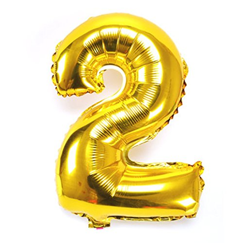 B-G 40 Inch Number 0-9 Thickening Gold Foil Digital Air-filled /Hydrogen / Helium Foil Mylar Balloons for Independence Day Birthday Party Wedding Anniversary (Number 2) (The Balloon)