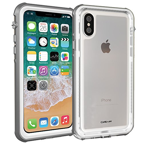 CellEver iPhone Xs Case/iPhone X Case, Waterproof Shockproof IP68 Certified SandProof Snowproof Full Body Protective Cover Fits Apple iPhone X/iPhone Xs 5.8 inch (2018) - K7 White/Gray