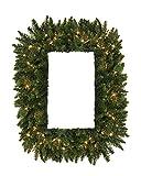 Vickerman Pre-Lit Camdon Fir Rectangular Artificial Christmas Wreath with Clear LED Lights, 36''