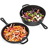 Cheap Pre-Seasoned Cast Iron 2-In-1 Combo Cooker – 3.2 Quart Heavy Duty Dutch Oven & Skillet Lid Set – Oven Safe Non-stick Cookware Set Use As Dutch Oven and Frying Pan – Perfect for Indoor and Outdoor Use