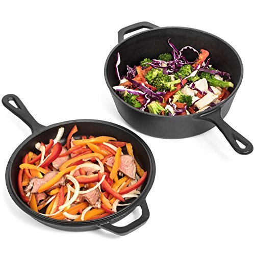 Pre-Seasoned Cast Iron 2-In-1 Combo Cooker - 3.2 Quart Heavy Duty Dutch Oven & Skillet Lid Set - Oven Safe Non-stick Cookware Set Use As Dutch Oven and Frying Pan - Perfect for Indoor and Outdoor Use