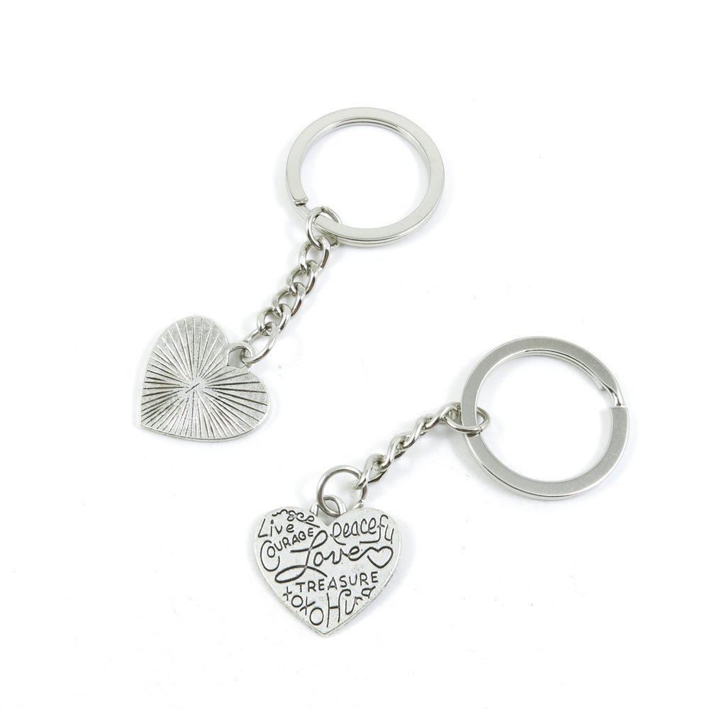 100 Pieces Keychain Door Car Key Chain Tags Keyring Ring Chain Keychain Supplies Antique Silver Tone Wholesale Bulk Lots V9XF5 Love Heart