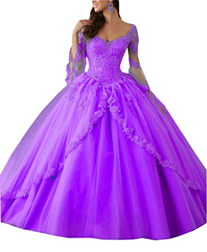 Mollybridal Illusion Ball Gown Quinceanera Dress With Juliet Sleeves Lace up Beaded Tulle Light Purple 18