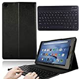 AmaBe for Amazon Fire 7 with Alexa Case(9th & 7th & 5th Generation 2019 2017 2015 Releases) PU Leather Folding Stand Cover with Wireless Bluetooth Keyboard Black