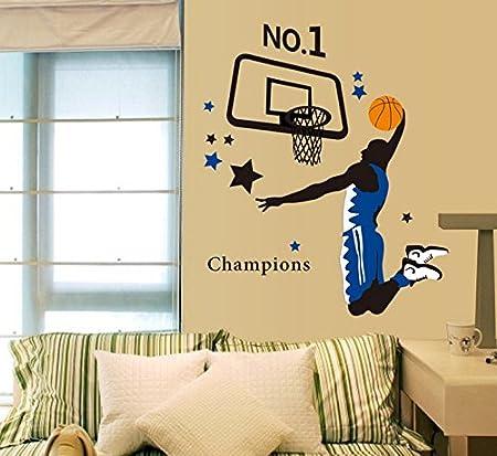 Jugando al baloncesto pared casa adhesivo extraíble Salón pintado ...