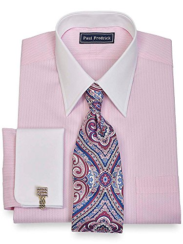 Paul Fredrick Men's Slim Fit Cotton Twill Stripe Dress Shirt Pink (Paul Fredrick Twill Stripe Dress Shirt)