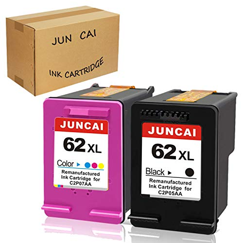 Refilled Ink Cartridge Replacement for HP62 62XL 62 XL Use for HP Envy 7640 5660 5540 5640 5643 Officejet 5740 5743 5745 OfficeJet 200 250 Mobile Printer (1 Black, 1 Tri-Color) by JUNCAI