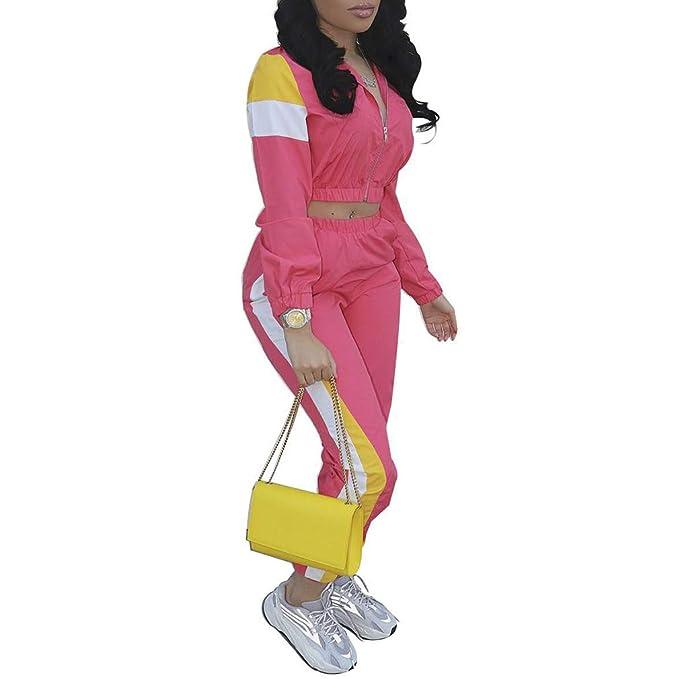Mxssi Conjuntos de Mujer 2 Piezas Sports Jogger Zipper Jacket ...