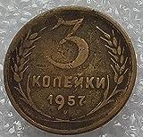 1957 RU 3 Kopeks USSR Soviet Union Russi