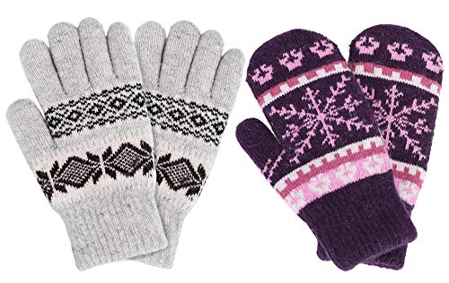 Womens Mittens Winter Fair Isle Knit Sherpa Lined Mittens,2 Pairs,Purple/Light Grey