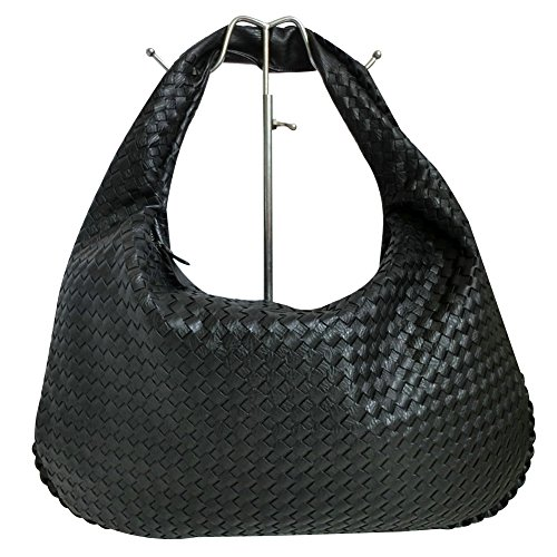 Italian Made Black Leather (ILISHOP Hot Sale Women's Classic Italian Intricate Woven Large Flat Hobo Handbag Shoulder Bag (Black))