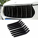 #8: YOCTM Black Carbon Fiber Look Front Central Grill Grille Vertical Decoration Strips Cover Trims For Maserati Levante 2016 2017