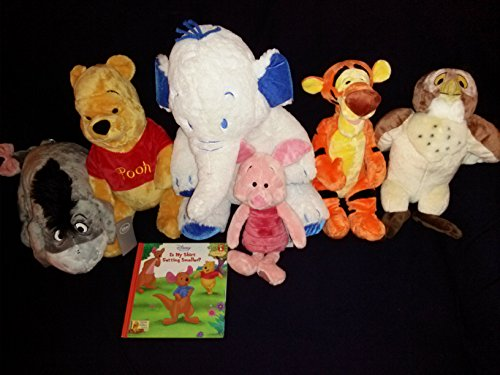 7 pc Disney Set: Disney's Winnie the Pooh and Friends Pooh, Piglet, Tigger, Eeyore, large Heffalump Lumpy Elephant, and Owl Plush Set and Is My Shirt Getting Smaller Hardcover Book -