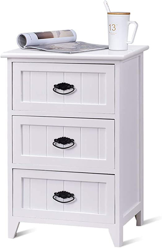 Nightstand End Table Bedroom Storage Wood Side Bedside White W//3 Drawers White