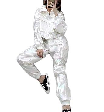 Mujeres Rainbow Color Glossy Fashion Cool Pantalones de chándal ...