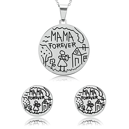 AmDxD Jewelry Stainless Steel Earring and Necklace Sets for Women Crave Mama Forever Silver,Big 3.9X3.9CM