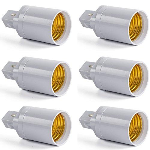 AWE-LIGHT 6-Pack G24 to E26 E27 LED Bulb Base Adapter Converters Light Sockets Lamp Holder