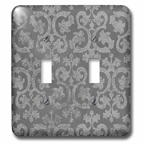 3dRose lsp_151435_2 Grunge Dark Gray Damask Silver Grey Faded Antique Vintage Swirls Wallpaper Fancy Swirling Pattern Double Toggle (Vintage Wallpaper Antique)