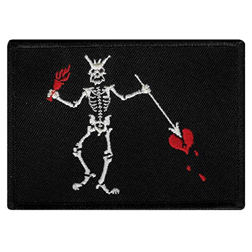 Jolly Roger Blackbeard Flag Embroidered Patch Black White Pirate Skull Iron-On