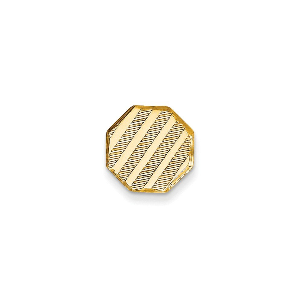 14K Yellow Gold Octagon-Shaped Tie Tac with Diagonal Stripes