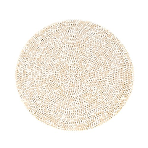 SARO LIFESTYLE 100.OY15R 4-Piece Beaded Design Placemat Set, 15-Inch, Oyster, Round by SARO LIFESTYLE