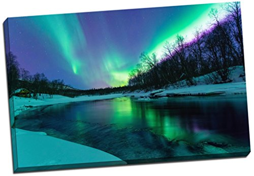 Panther Print Winter River Northern Lights Aurelia Borealis Canvas Print Picture Wall Art Large 30X20 Inches (76.2Cm X 50.8Cm)