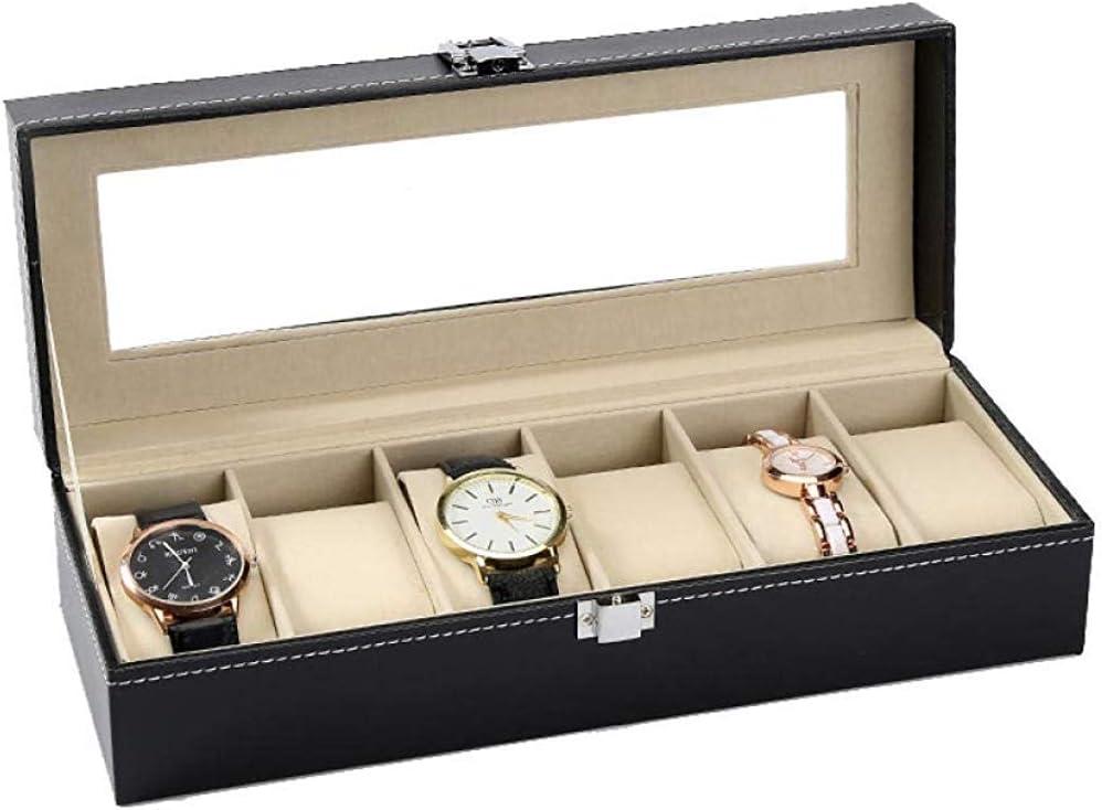 HJ Inicio Caja de reloj Cajas Para Joyas Hombre Mujer Regalo Viaje Cuero Artificial/Fibra de carbono/Madera Glasses Sunroof Bracelet Display Storage Box,6 dígitos: Amazon.es: Bricolaje y herramientas