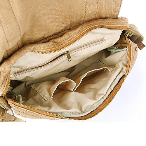Tekon - Bolso de mensajero para hombre, lona y piel, diseño retro, estilo inglés, para viaje, senderismo o acampada verde Khaki-2 talla única amarillo