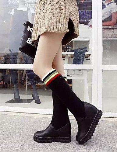 Botas Xzz Semicuero Cn39 Casual Tejido Tacón Zapatos Eu39 A Redonda La De us8 Cuñas negro Vestido Punta Red Moda Uk6 Mujer Rojo Cuña qA8qwgr