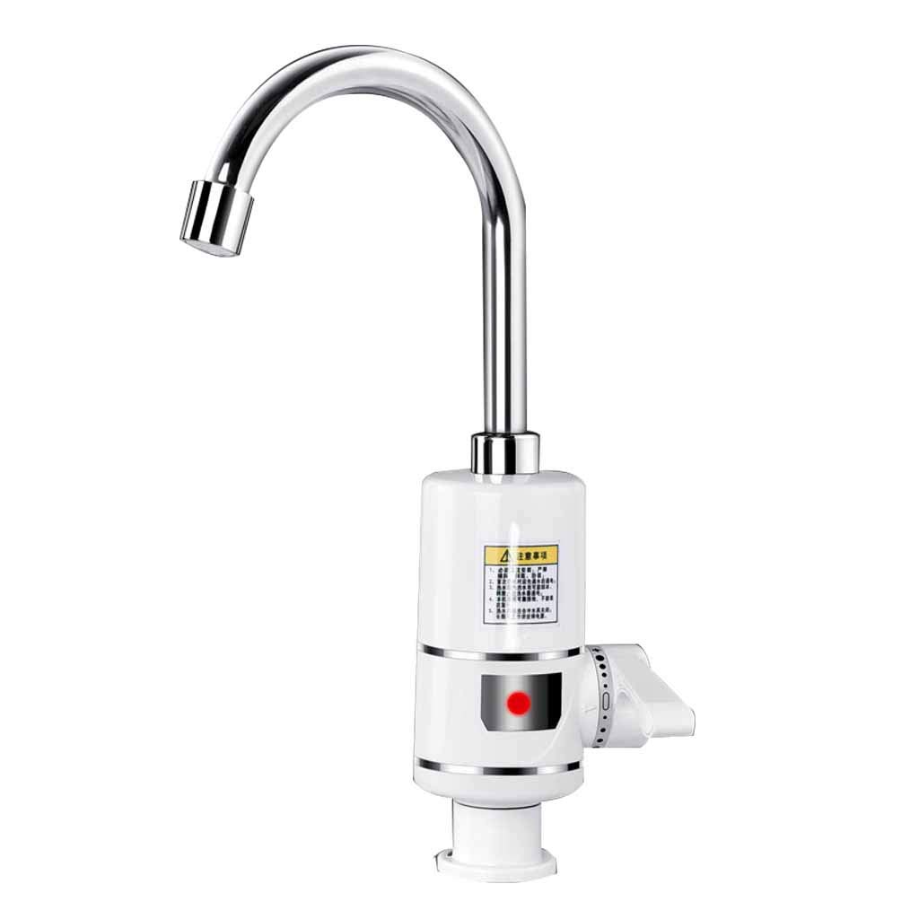 Electric faucet Instant Tankless Electric Hot Water Heater Faucet Kitchen Bathroom Heating Faucet Tap Water Heater LED Digital Display (Big Under Inflow) Roscloud@ (Color : B, Size : 3000W)