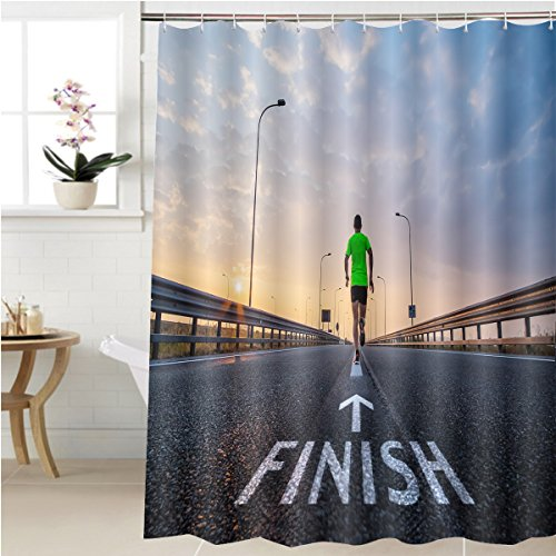 Gzhihine Shower curtain run to the finish line Bathroom Accessories 36 x 72 inches - 85 Textured Rust Finish