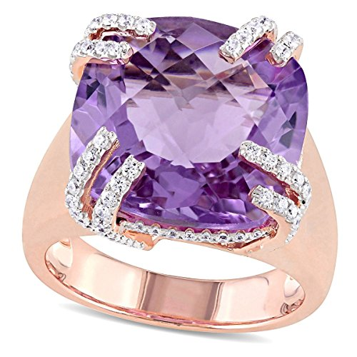 14k Pink Gold 13-1/3 ct TGW Pink Amethyst and 1/2 ct Diamond Fashion Ring