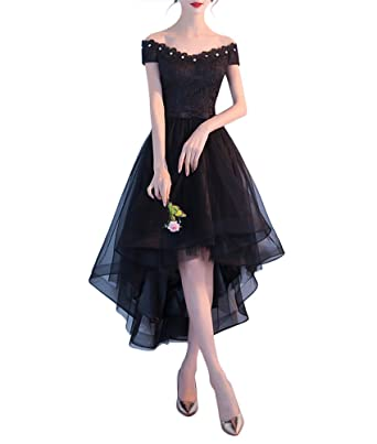 Kevins Bridal Lace Off Shoulder High Low Bridesmaid Dress Short Evening Gown Black Size 2