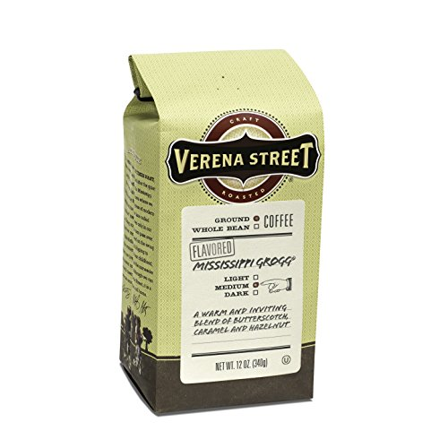 Verena Street 12 Ounce Flavored Ground Coffee, Mississippi Grogg, Medium Roast, Rainforest Alliance Certified Arabica Coffee