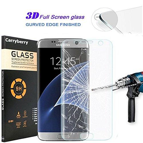 S7 Edge Screen Protector, S7 Edge Tempered Glass,Carryberry Ultra Slim Samsung Galaxy S7 Edge 3D Tempered Glass Full Screen Protector, Protective Film Anti-scratch Anti-fingerprint for S7 Edge