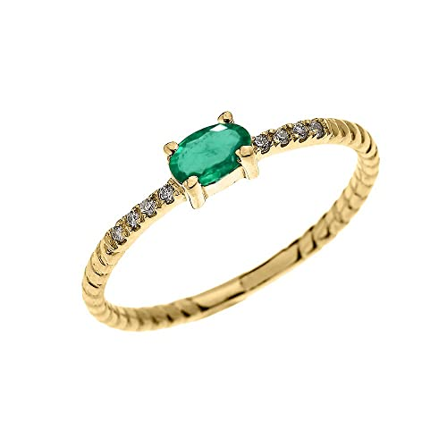 Dainty 14k Yellow Gold Diamond and Solitaire Oval Emerald Rope Design Stackable Proposal Ring