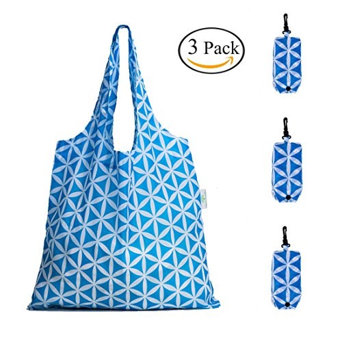 HOLYLUCK Set of 3 Reusable Grocery Bags,Heavy Duty Foldable Shopping Tote Bag, Holds Up To 42 lbs - Sky Blue Flower