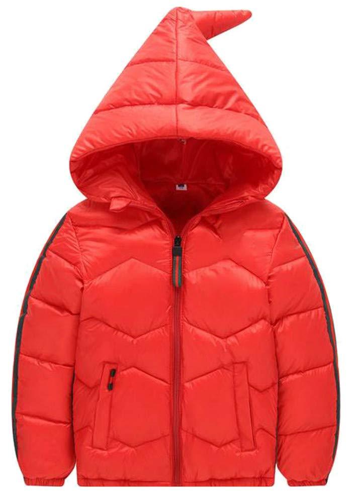 XiaoTianXinChildrenscostumes XTX Boy's Zipper Pocket Down Quilted Hoody Outwear Jacket Parka Coat Red 8T
