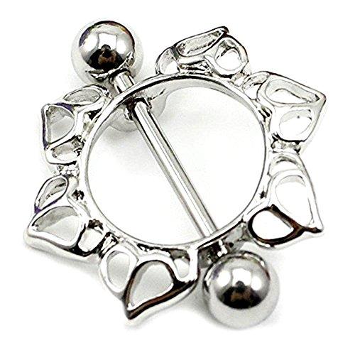 Bodya® 1paire d'anneaux en acier chirurgical pour piercing des tétons Motif floral cerclé avec barre Bijou de piercing
