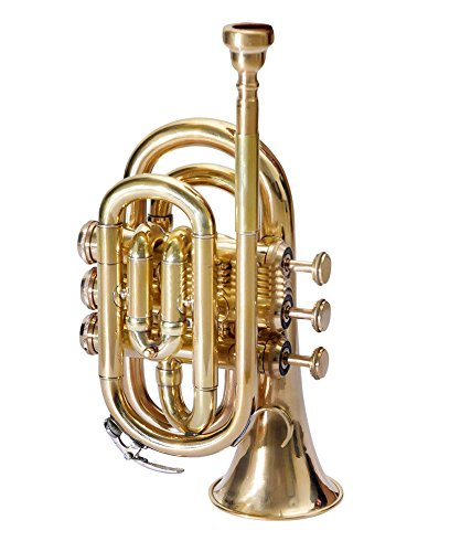 POCKET TRUMPET Bb PITCH BRASS COLORED WITH FREE HARD CASE + MP