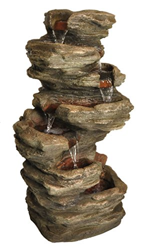 Zenvida Stone Cascading Waterfall Outdoor Garden Fountain 32'' by Zenvida