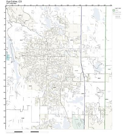 Amazon Com Zip Code Wall Map Of Fort Collins Co Zip Code Map Not