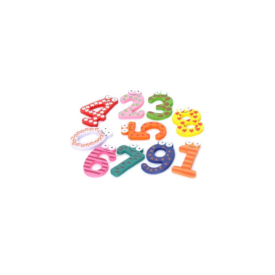 Colorful 0 9 Arabic Numbers Wooden Fridge Magnet Toys (10 Piece Pack)