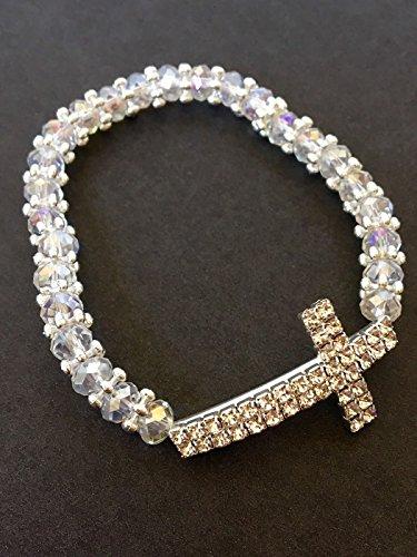 12 Crystal Clear Baptism Favor Bracelet First Communion Favor 12pcs Recuerdos de (First Communion Crystal)