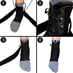 COMPRESSX Ankle Brace, Stabilizer Support- For Joint Pain, Athletic Injuries, Recovery, Sprains & More-Ankle Brace Lace Up Support With Adjustable Straps-Unisex(Large)