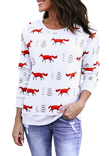 Tutorutor Womens Crewneck Cute Sweatshirt Long Sleeve Animal Print Shirt Tops (Sweatshirt Print)