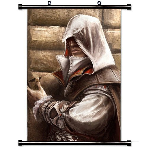 MiniGao Wall Scroll Poster with Assassins Creed Desmond Miles Fan Art Flower Wall Hood