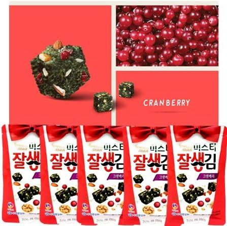 口にひろがるほのかな酸味と自然な甘さクランベリーアーモンドクルミ+韓国海苔コラボ 穀物お菓子20g x5袋 食物繊維の含有量が高いのでダイエットに効果的
